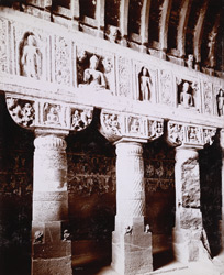 Ajunta. Interior of Cave No.19, details of Pillars[sic]
